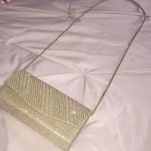 Gold clutch with strap ✨